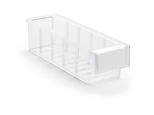 Clear Shelf Tray 3010-1  Ext Dims: 300 x 92 x 82 mm  Pack size: 30
