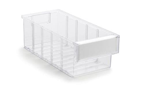 Clear Shelf Tray 3015-1  Ext Dims: 300 x 132 x 100 mm  Pack size: 30