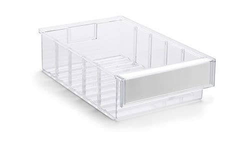 Clear Shelf Tray 3020-1  Ext Dims: 300 x 132 x 100 mm  Pack size: 15
