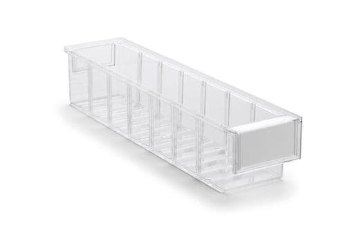 Clear Shelf Tray 4010-1  Ext Dims: 400 x 92 x 82 mm  Pack size: 30