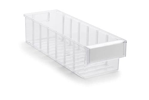 Clear Shelf Tray 4015-1  Ext Dims: 400 x 132 x 100 mm  Pack size: 20