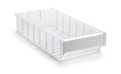 Clear Shelf Tray 4020-1  Ext Dims: 400 x 186 x 82 mm  Pack size: 15