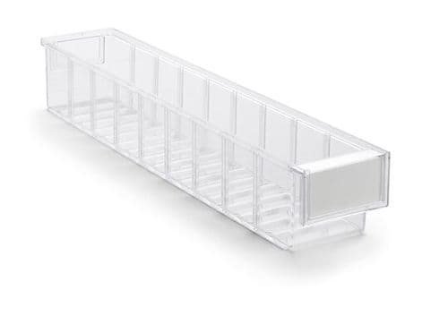 Clear Shelf Tray 5010-1  Ext Dims: 500 x 92 x 82 mm  Pack size: 30
