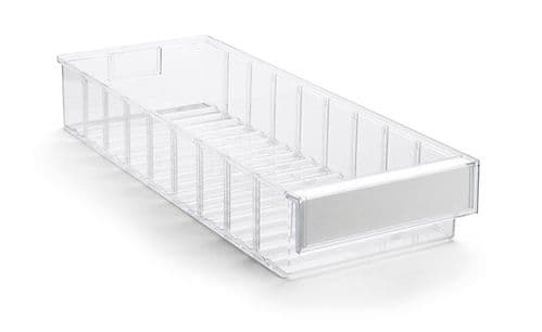 Clear Shelf Tray 5020-1  Ext Dims: 500 x 186 x 82 mm  Pack size: 15