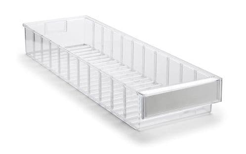 Clear Shelf Tray 6020-1  Ext Dims: 600 x 186 x 82 mm  Pack size: 15