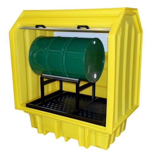 Drum Spill Pallet with shelving unit hard cover - BP2HCH