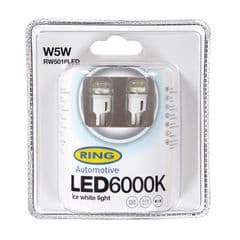 12V 1W W5W 6000K LED Bulbs