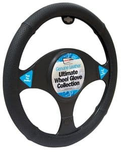 Black Stitched Geniune Leather Wheel Cover (SWWG8)