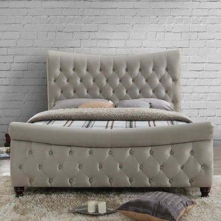 Copenhagen Warm Stone Fabric King Sized Bed