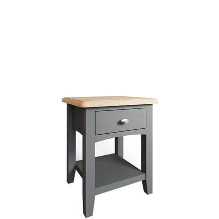 Geo Grey Painted 1 Drawer Lamp Table