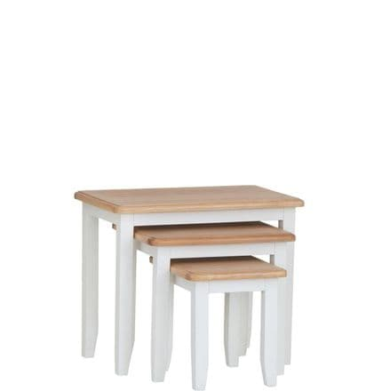 Geo White Painted Nest of 3 Tables