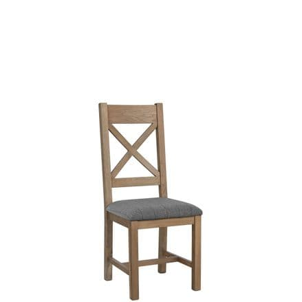 Henley Oak  Cross Back Chair Fabric Grey Seat