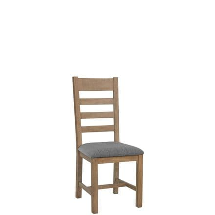 Henley Oak  Slatted Back Chair Fabric Grey Seat