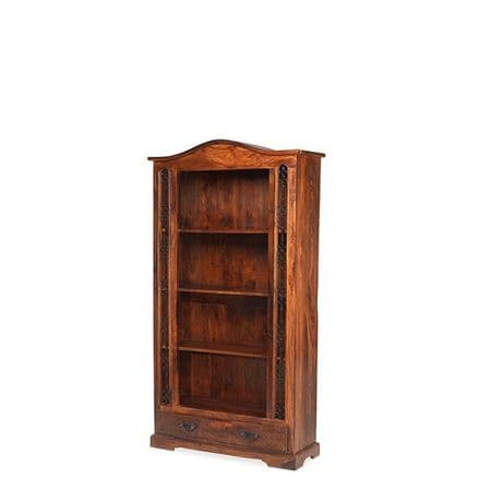 Jali Sheesham Wood Bookcase with 1 Drawer