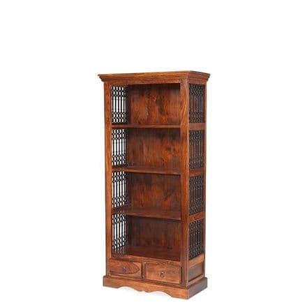 Jali Sheesham Wood Bookcase with 2 Drawers