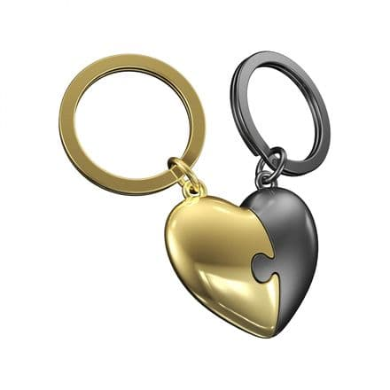 Metalmorphose Keyrings - Two Piece Grey and Gold Heart Puzzle Keyring