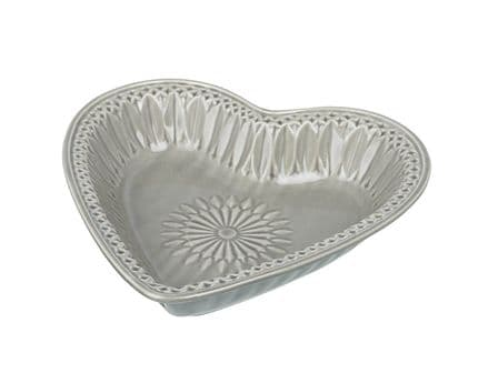 Patterned Heart Dish Grey