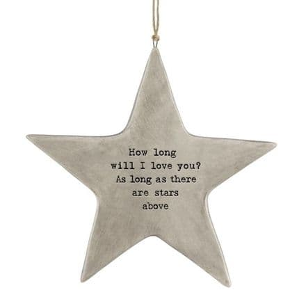 Porcelain Rustic Star - How long will I Love you