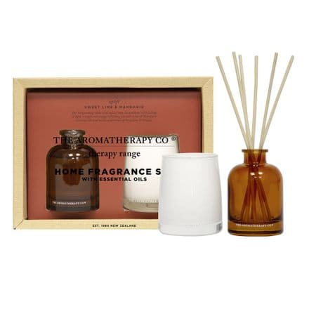 The Aromatherapy Company - 100g Candle & 50ml Reed Diffuser Set - Sweet Lime & Mandarin