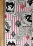 Alice in Wonderland fabric UK Cheshire Cat pink stripes playing card - 100% Cotton - Price Per Metre