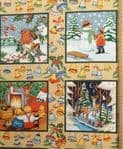 Christmas Window boxes fabric UK - by the fire Robin material snowman trees - Price Per Metre