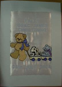 PERSONALISED EMBROIDERED TEDDY AND THE TROLLEY CARD