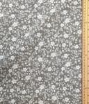 White floral spray Grey Fabric UK 80% Cotton 20% Poly material upholstered feel - Price Per Metre
