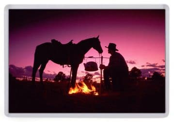 By the Fire Fridge Magnet. Purple Sunset. Wild West / Western Photography. Cowboy