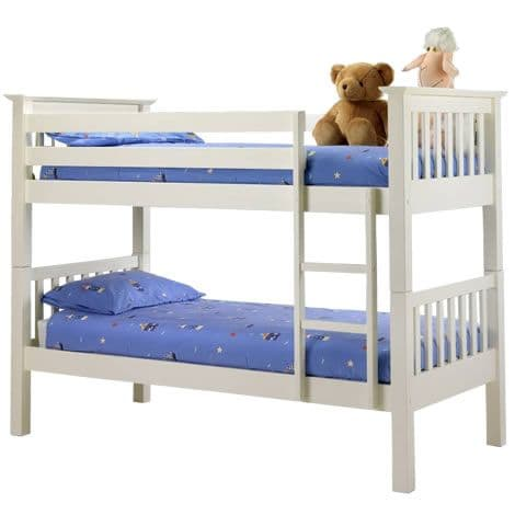 Barcelona Pine Bunk Bed - Stone White (splits into 2 single bedframes)