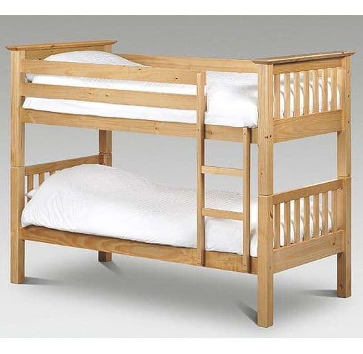 Barcelona Solid Pine Bunk Bed - Natural (splits into 2 single bedframes)