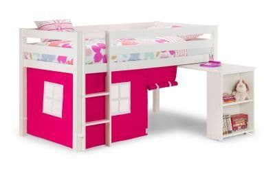 Wendy White Mid Sleeper Bed (PINK OR BLUE TENT)