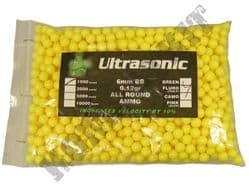 1000 x 6mm x 12g Yellow Polished Airsoft BB Gun Pellets in Bag Ultrasonic