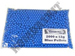 2000 x 6mm x 12g Blue Polished Airsoft BB Gun Pellets in Bag Kombatkit Premium Grade