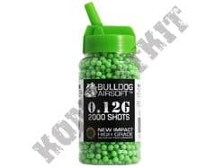 2000 x 6mm x 12g Green Polished Airsoft BB Pellets in Tub