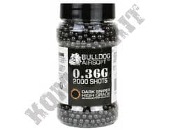 2000 x 6mm x 36g Black Polished Airsoft BB Pellets in Tub Bulldog Pro Grade