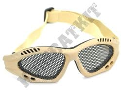 Airsoft goggles metal mesh safety glasses eye protection Desert Tan No fog