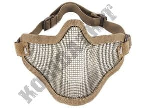 KOMBATKIT: metal steel wire mesh mask for airsoft lower half face protection desert tan beige