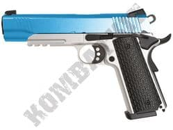 Army R28 BB Gun Kimber 1911 Replica Gas Blowback Airsoft Pistol Silver Blue 2 Tone Metal