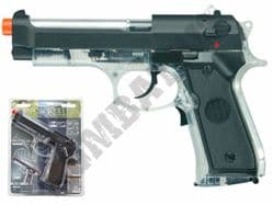 Beretta 92FS BB Gun Official Electric Blowback Airsoft Pistol Clear Black 2 Tone