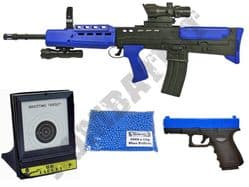 British Army BB Gun Bundle Spring SA80 & Glock Replica + Pellets & Target Set 2 Tone Blue Black