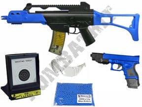 M41L Rifle & P698+ BB Pistol 2 Tone Spring Airsoft Guns, Pellets & Target Set Bundle | KOMBATKIT