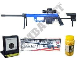 BUNDLE DEAL G35 BB Gun Sniper Rifle Black and Blue with Target Set and 2000x12g Pellets