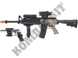 Colt Field Duty Kit M4 RIS Automatic Electric Airsoft BB Machine Gun and 1911 handgun with laser Black and Smoked