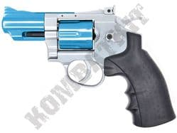 "CS02 Airsoft Pistol Magnum Revolver Replica CO2 BB Gun Silver & 2 Tone Metal 2.5"" Barrel"