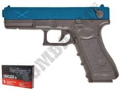 Delta Tactics Yakuza BB Gun Glock G Series Replica Electric AEP 2 Tone Blue Black with LiPo