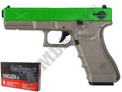Delta Tactics Yakuza BB Gun Glock G17 Replica Electric AEP Tan 2 Tone with LiPo