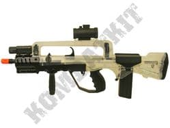 FAMAS Tactical Combat Rifle Official Replica Airsoft BB Gun Black and Clear