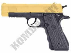 FS1203 BB Gun Colt 45 1911 Replica Airsoft CO2 Pistol Gold Black 2 Tone Metal