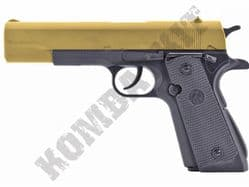 FS1206 BB Gun Colt M1911 Replica Airsoft CO2 Pistol Gold Black 2 Tone Metal