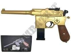 G12 Mauser C96 Machine Pistol Replica Spring Airsoft BB Gun Gold Black 2 Tone Metal
